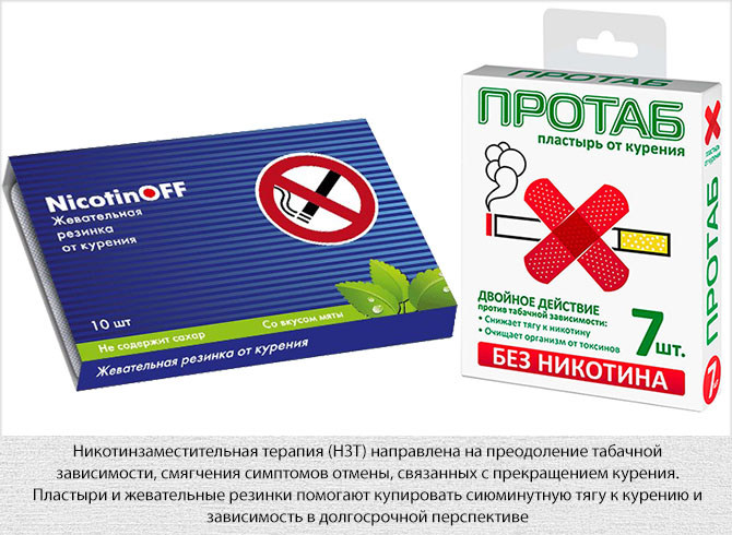 Средства никотинзаместительной терапии - пластырь и жевательная резинка