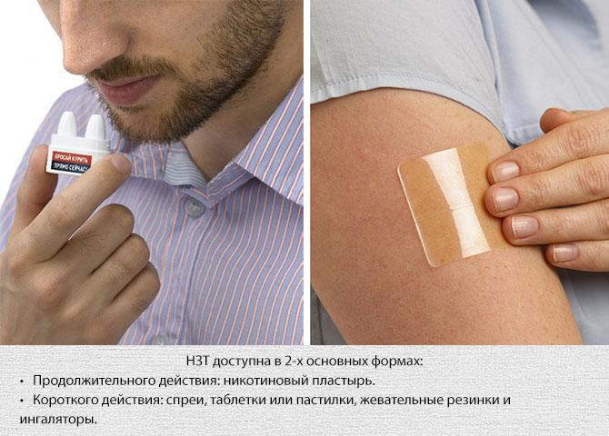 Пластырь и ингалятор для никотинзаместительной терапии
